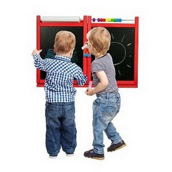 Tablica magnetyczna Inlea4Fun First School, wisząca, dwustronna, czerwona