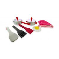 Naczynia kuchenne drewniane dla dzieci Aga4Kids Cookware Set 7 srebrne