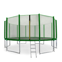 Trampolina Sport Pro Aga 460 cm (15 Ft) z zewnętrzną siatką ochronną, zielona