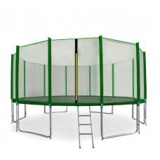 Trampolina Sport Pro Aga 460 cm (15 Ft) z zewnętrzną siatką ochronną, zielona Preview