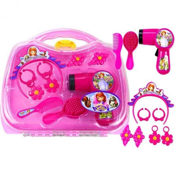 Zestaw do włosów Inlea4Fun Sophia w walizce z suszarką, różowy