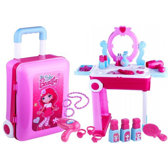 Toaletka dla dziewczynki Inlea4Fun 3 w 1, różowa