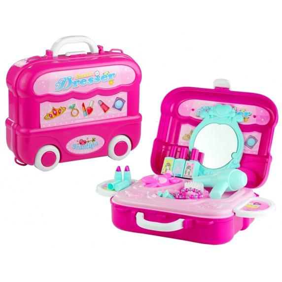 Toaletka dla dziewczynki Inlea4Fun  na kółkach, różowa