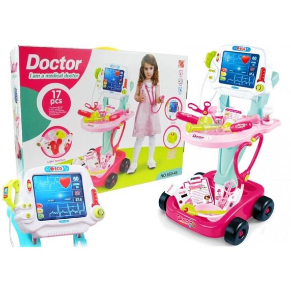 Zestaw lekarski na wózku z monitorem EKG + 17 akcesoriów