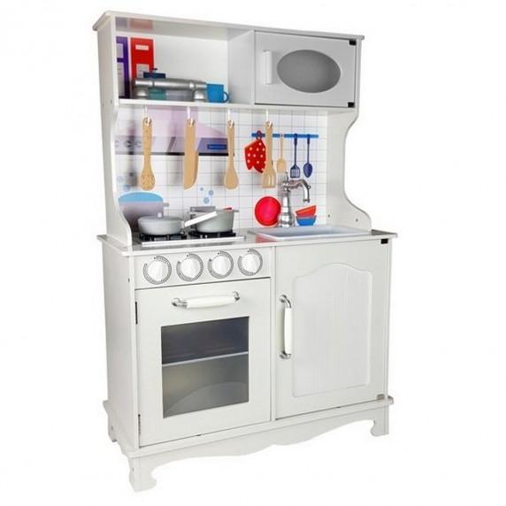 Kuchnia drewniana dla dzieci Inlea4Fun, biała + akcesoria