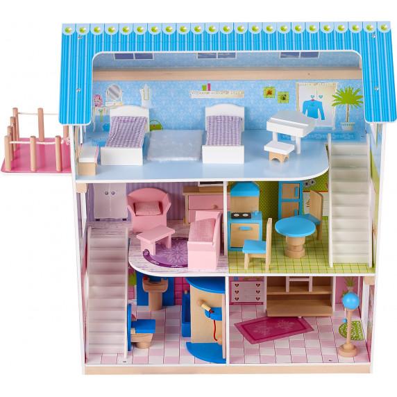 Domek drewniany dla lalek Aga4Kids LESLIE z akcesoriami