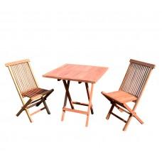Zestaw stół i 2 krzesła Linder Exclusive TH022 z drewna tekowego 70 x 70 cm Preview