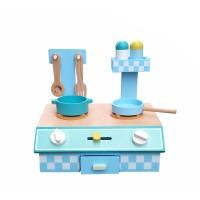 Mini kuchnia drewniana dla dzieci Aga4Kids Lenora niebieska + akcesoria