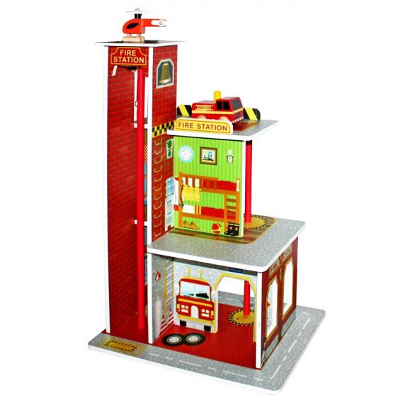 Remiza strażacka drewniana Aga4Kids Fire Station z wieżą i akcesoriami
