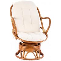 Fotel rattanowy Parus, jasnobrązowy, białe poduchy, bujany