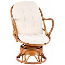 Fotel rattanowy Parus, jasnobrązowy, białe poduchy, bujany Preview