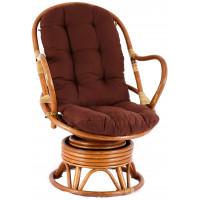 Fotel rattanowy Parus, jasnobrązowy, brązowe poduchy, bujany