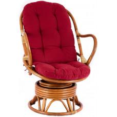 Fotel rattanowy Parus, jasnobrązowy, czerwone poduchy, bujany Preview