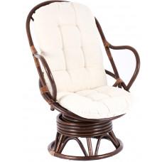 Fotel rattanowy Parus, ciemnobrązowy, białe poduchy, bujany Preview