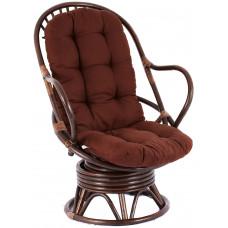 Fotel rattanowy Parus, ciemnobrązowy, brązowe poduchy, bujany Preview
