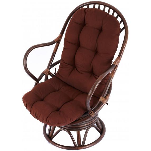 Fotel rattanowy Parus, ciemnobrązowy, brązowe poduchy, bujany