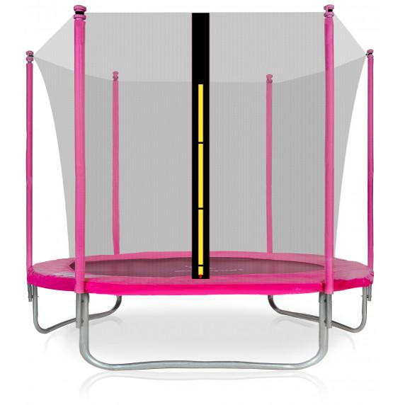 Trampolina Sport Fit Aga 250 cm (8 Ft) z wewnętrzną siatką ochronną, różowa