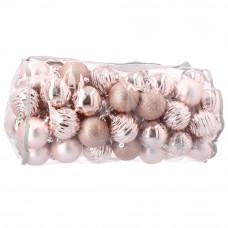 Bombki choinkowe Inlea4Fun, 80 sztuk w komplecie, różowe Preview