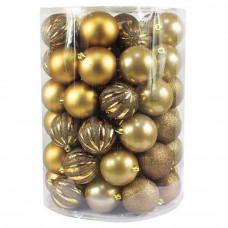 Bombki choinkowe Inlea4Fun, mix 60 sztuk w tubie, duże, złote Preview