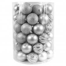 Bombki choinkowe Inlea4Fun, mix 60 sztuk w tubie, duże, srebrne Preview