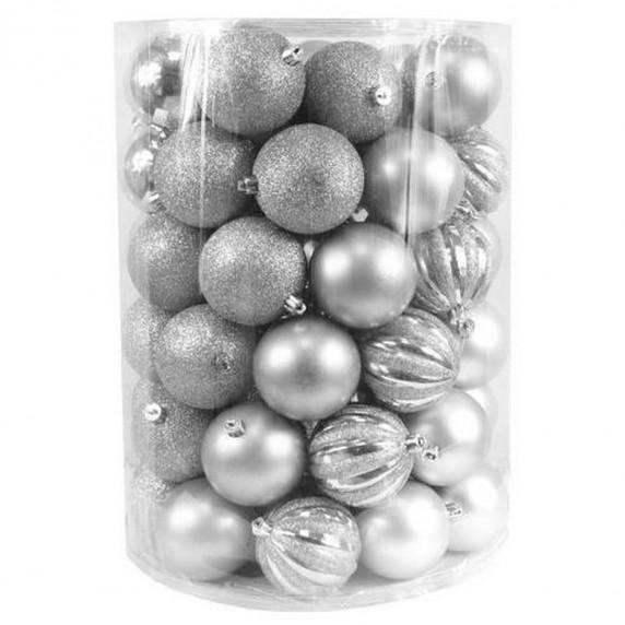 Bombki choinkowe Inlea4Fun, mix 60 sztuk w tubie, duże, srebrne