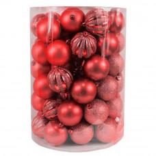 Bombki choinkowe Inlea4Fun, mix 60 sztuk w tubie, duże, czerwone Preview