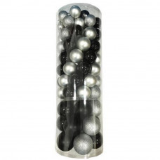 Bombki choinkowe Inlea4Fun, mix 110 sztuk, 8 cm, 6 cm , 5 cm, srebrne, czarne Preview