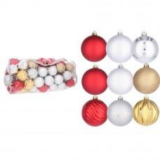 Bombki choinkowe Inlea4Fun, mix 80 sztuk w komplecie: złote, srebrne, czerwone Preview