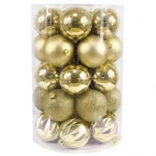 Bombki choinkowe Inlea4Fun, 34 sztuki w tubie, duże, złote Preview