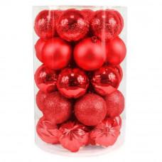 Bombki choinkowe Inlea4Fun, 34 sztuki w tubie, duże, czerwone Preview
