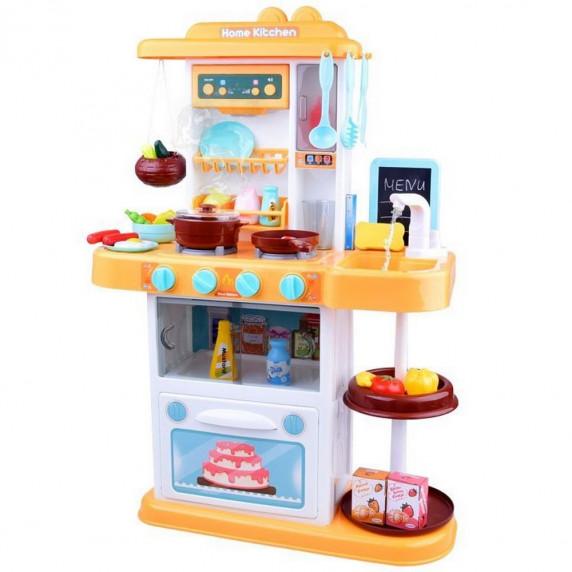 Kuchnia dla dzieci Inlea4Fun Amelia, ze światłem i dźwiękiem, plastikowa 40 elementów, pomarańczowa