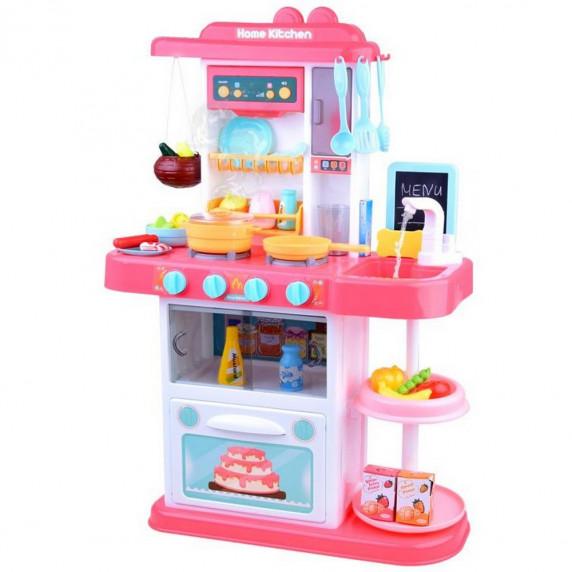 Kuchnia dla dzieci Inlea4Fun Amelia, ze światłem i dźwiękiem, plastikowa 40 elementów, różowa