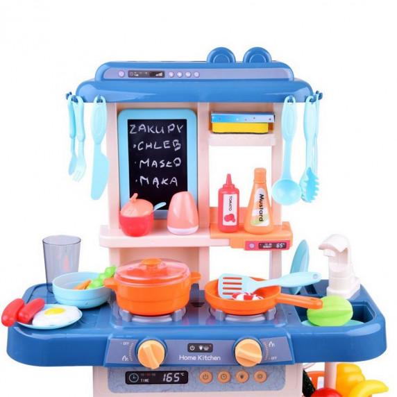 Kuchnia dla dzieci Inlea4Fun IGA, ze światłem i dźwiękiem, plastikowa 40 elementów, niebieska