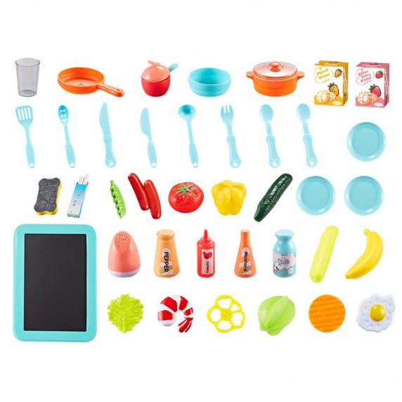 Kuchnia dla dzieci Inlea4Fun IGA, ze światłem i dźwiękiem, plastikowa 40 elementów, różowa