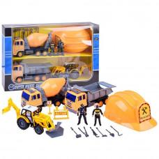 Zestaw małego budowlańca z kaskiem + betoniarka + wywrotka + koparka + figurki  Preview