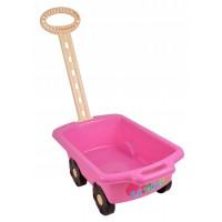 Wózek z rączką - przyczepka 45 cm, różowy
